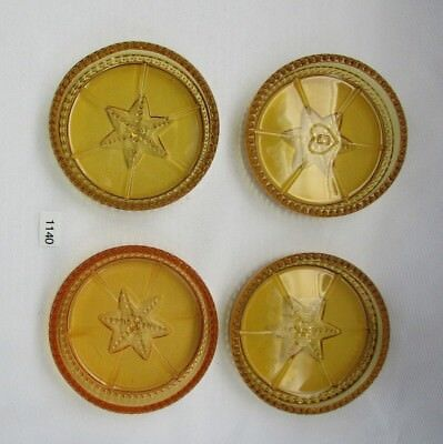 Degenhart Glass  Beaded And Star Coasters  (Amber) Set Of Four