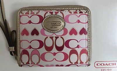 New Coach Peyton Signature And Hearts Leather Zip Around Wallet Bag 48964 $118