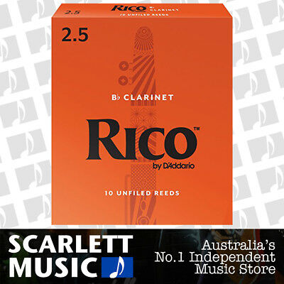Rico Bb Clarinet 10 x Reeds, Strength 2.5 ( 2 1/2 ) 10-pack RCA-1025 By Daddario