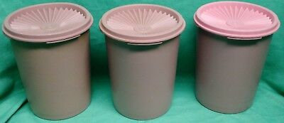 "Tupperware 5"" stacking canisters x3 pink"