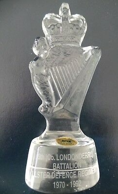 RARE 5th Co.LONDONDERRY- ULSTER DEFENCE REGIMENT UDR- TYRONE CRYSTAL PAPERWEIGHT