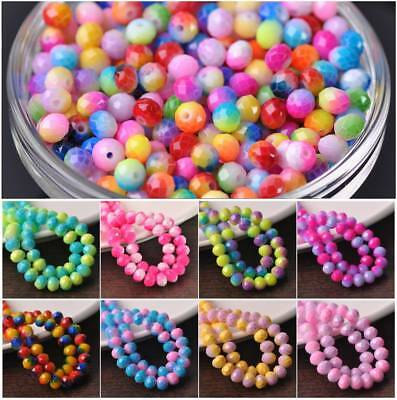 Rainbow Rondelle Faceted Glass Loose Spacer Beads lot  6/8/10mm Jewelry Making