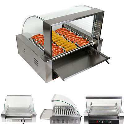 Commercial 30 HotDog 11 Roller Grill Cooker Grilling Machine W/ Cover CE New