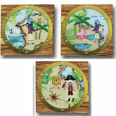Pirates Ahoy Canvas Art - Set of 3