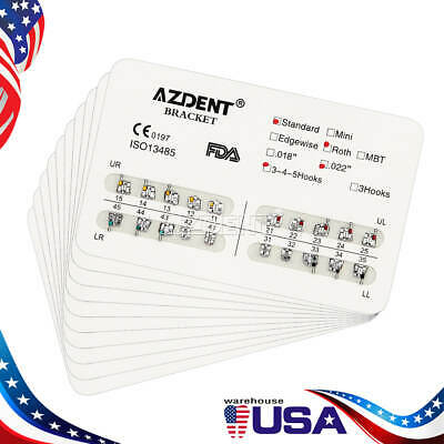 Dental Orthodontic Metal Brackets Braces Standard Roth.022 3-4-5 Hooks AZDENT