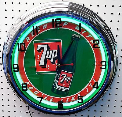 """17"""" 7up Sign Neon Clock Fresh up with 7 UP you'll like it"""
