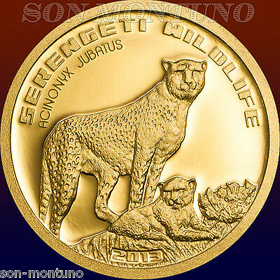 2013 CHEETAH Serengeti Wildlife TANZANIA 1/2 gram PURE GOLD COIN .9999 Africa