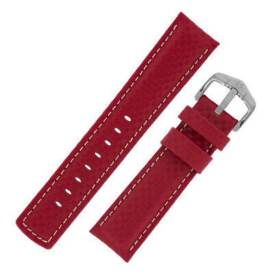 Hirsch CARBON Embossed Leather & Rubber Water Resistant Watch Strap in RED