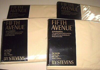 NEW Vintage 1983 Lot of 4 Solid Bone Cream TWIN Size Flat Bed Sheets MADE in USA