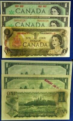 Canada:  $1 3 pc.s #85a, 84a & *4b All CU (teller stamp on one)
