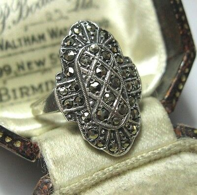 Vintage Art Deco Sterling SILVER Marcasite Geometrical Jewellery RING 5.75 L