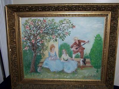 Signed Di Silvestro European Italian French Lovers Courting Scene Oil Painting