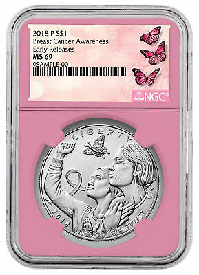 2018-P Breast Cancer Awareness Commem Silver Dollar Coin NGC MS69 ER SKU53228