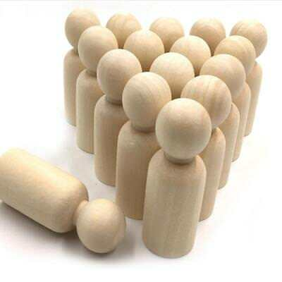 10pcs Blank Wooden People Peg Dolls Figures Wedding Cake Toppers DIY Craft Toy C