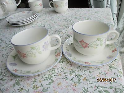 """2 x Royal Doulton EXPRESSIONS """"Summer Carnival"""" Teacups & Saucers"""