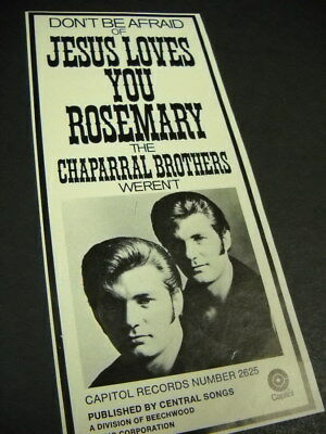 CHAPARRAL BROTHERS Jesus Loves You Rosemary 1969 music biz promo trade advert