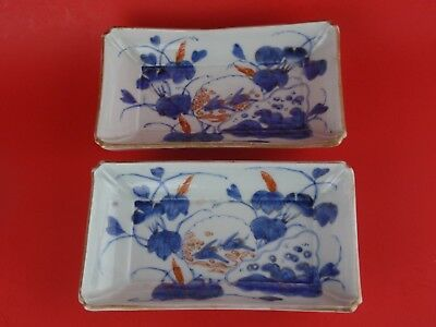 Japanese Antique Imari Rectangular Sweet Meat Trays Set of 2
