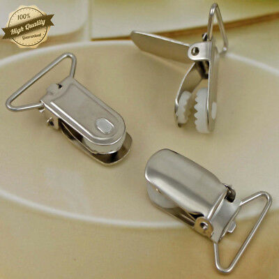 10 Pcs Lead Free Suspender Paci Pacifier Clips Round Plastic Insert 1 inch