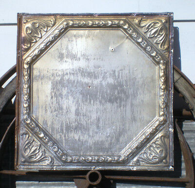 SALE Antique Victorian Ceiling Tin Tile Octagon Fleur De Li Canvas Shabby Chic