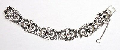 Antique Art Deco 800 Silver Faceted Bohemian Garnet Filigree Bracelet
