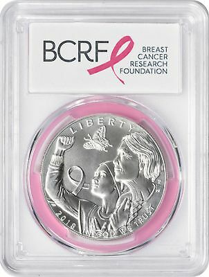 2018-P Breast Cancer Awareness Commemorative Dollar MS70 PCGS First Strike Pink