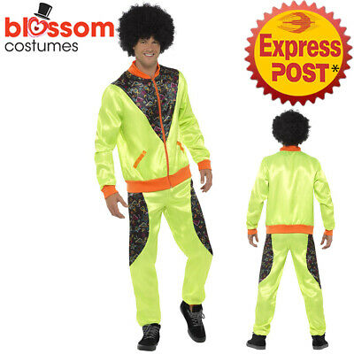 CA654 Mens Retro Neon 80's Height Fashion Scouser Tracksuit Shell Suit Costume