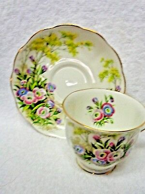 Royal Albert Fringed Gentian Pastel Flowers Gold-Colored Edge Cup and Saucer