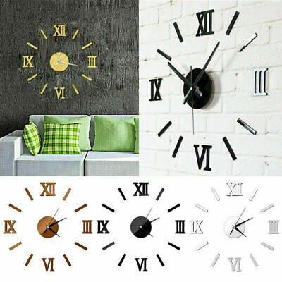 DIY Wall Clock 3D Mirror Surface Art Sticker Decals Modern Home Office Art Decor