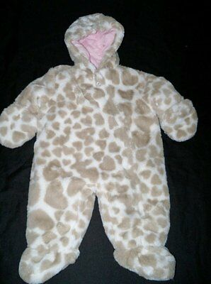 NWOT Baby Girls 3/6 mo Carters Snowsuit Faux Fur Thick & Warm Hearts Print