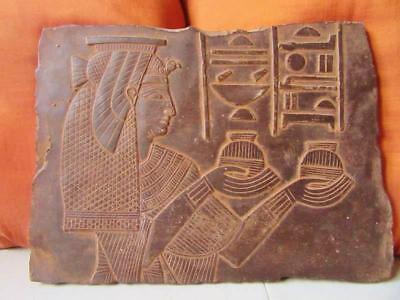 Amazing Hand Carved Antique Wall Plaque of Ancient Egyptian Princess Relief