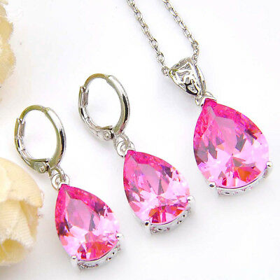 Mother's Gift 2 pcs 1 Lot Natural Pink Topaz Platinum Plated Pendants Earrings