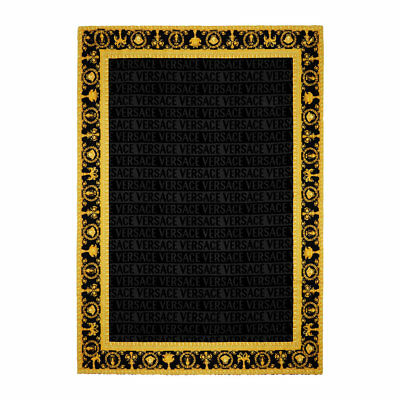 "Versace Baroque Jacquard Medusa Bath/Beach Towel Black - 76.77"" x 57.09"""