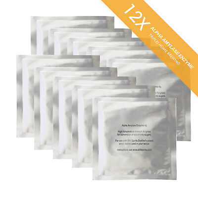 12 x Still Spirits Alpha Amylase Enzyme Sachet 4g  home brew   Free Shipping