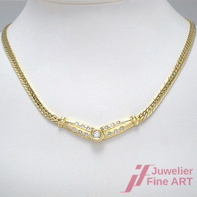 Diamant-Collier 585/14K Gelbgold - 13 Brillanten ca. 0,40 ct W/P1 - 14,2 g