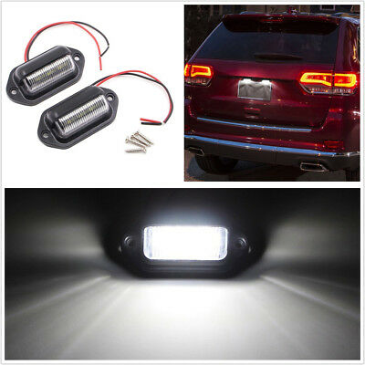 2Pcs White 6000K 12V 1.8W 6 SMD LED Car Boat License Plate Lamp Light Waterproof