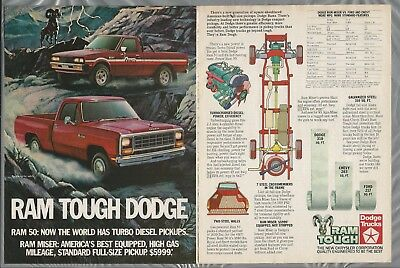 1983 DODGE RAM Pickup 2-page advertisement, Dodge ad, Ram 50 & Miser pickups