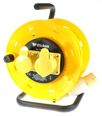 SMJ Wickes 110V Volt 16A Amp 25m Metre 2 Way Gang Extension Lead Cable Reel