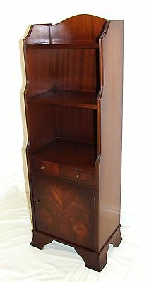 Antique Style Waterfall Inlaid Mahogany Bookcases with Cupboard and Drawer