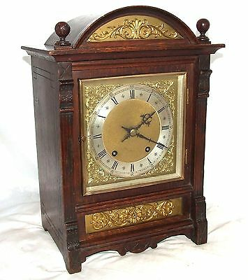 Antique Oak & Brass TING TANG Bracket Mantel Clock WINTERHALDER HOFFMEIER W & H