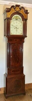 Antique Mahogany Rolling Moon Longcase Grandfather Clock HENRY WARDLAW LIVERPOOL
