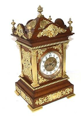 S MARTI ET CEI French Antique Oak & Brass Mounts Bracket Cube Mantel Clock