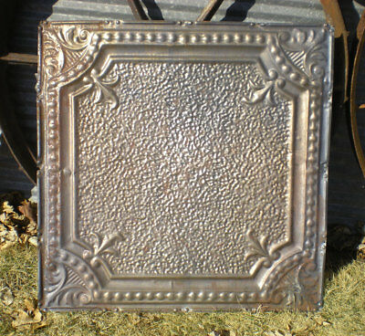 1890s Antique Victorian Ceiling Tin Tile Fleur De Li Shabby Chic