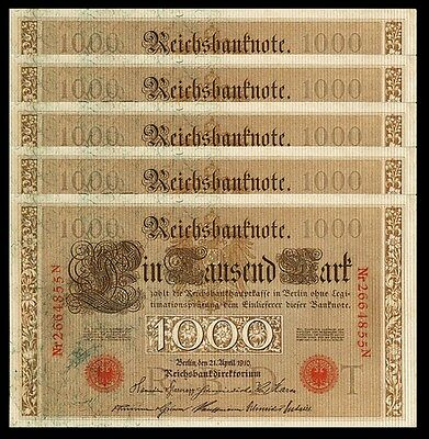 GERMANY 1000 MARK 1910 aAU / UNC P-44B , 5 PCS  LOT RED SEAL , VERY LITTLE PALE