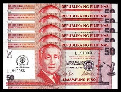 Crisp Uncirculated 9 Red Seial Number  5 Piso Philippines P-160c ND Sign