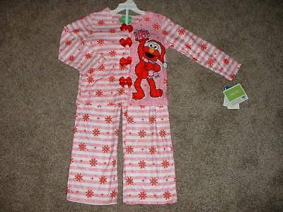 fae3a88c31 Sesame Street Toddler Girls Pink Flannel Elmo Christmas Pajamas Set Size 4T  NWT