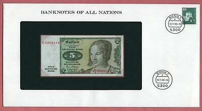 BANKNOTES OF ALL NATIONS 1980 WEST GERMANY 5 MARK P# 30b UNC
