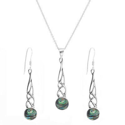 Silverly .925 Sterling Silver Abalone Shell Celtic Knot Earrings Necklace