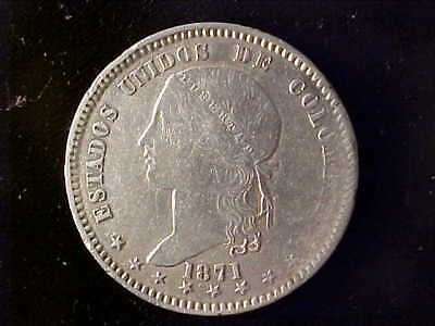 Colombia One Peso 1871 Bogota Vf, Probably Cleaned In The Past 140 Years