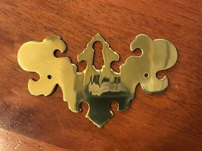 Large Chippendale Solid Brass Keyhole Cover Escutcheon Backplate