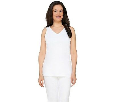 Isaac Mizrahi Timeless Double V-Neck Knit Tank Top Solid White XL NEW A260927
